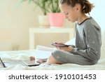 cute child use laptop for... | Shutterstock . vector #1910101453