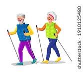 nordic walking exercising... | Shutterstock .eps vector #1910125480