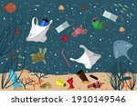 ocean pollution. seabed with... | Shutterstock .eps vector #1910149546