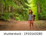 tourist girl enjoying hiking... | Shutterstock . vector #1910163280