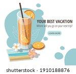 glass of orange juice with... | Shutterstock .eps vector #1910188876