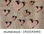 Decorative Wooden Hearts On...