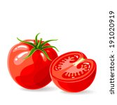 vector fresh tomatoes on white. ... | Shutterstock .eps vector #191020919