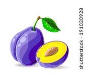 vector fresh plums on white.... | Shutterstock .eps vector #191020928