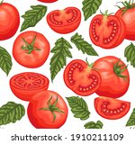 tomatoes seamless pattern on a... | Shutterstock .eps vector #1910211109