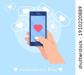 love message on the phone ...   Shutterstock .eps vector #1910220889