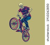 skull riding and doing trick... | Shutterstock .eps vector #1910262850