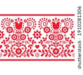 Polish folk art vector seamless long vertical pattern with red tulips, other flowers, hearts and leaves - Lachy Sadeckie. Spring repetitive wallpaper design, old ethnic decoration from Poland