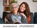 Portrait of old grandma and...