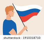 russian man  flag of the... | Shutterstock .eps vector #1910318710