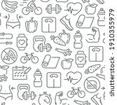 seamless pattern with fitness.... | Shutterstock .eps vector #1910355979