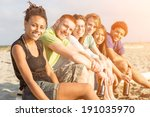 multiracial group of friends at ... | Shutterstock . vector #191035970