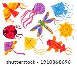 Kite Designs. Cartoon Flying...
