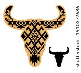 cow skull with aztec pattern....   Shutterstock .eps vector #1910372686