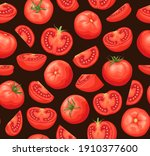 tomatoes seamless pattern on a...   Shutterstock .eps vector #1910377600