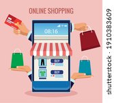 online shopping technology with ... | Shutterstock .eps vector #1910383609