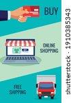 online shopping technology in...   Shutterstock .eps vector #1910385343