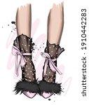 female legs in stylish shoes... | Shutterstock .eps vector #1910442283