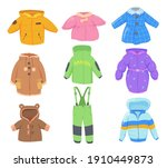 winter clothes for kids set....   Shutterstock .eps vector #1910449873