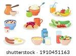 healthy breakfast meals set....   Shutterstock .eps vector #1910451163