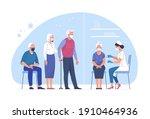 vaccination of the elderly... | Shutterstock .eps vector #1910464936