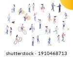 people crowd  city street...   Shutterstock .eps vector #1910468713