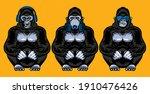 three wise gorillas with...   Shutterstock .eps vector #1910476426