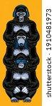 three wise gorillas with... | Shutterstock .eps vector #1910481973