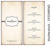 menu for restaurant  cafe  bar  ... | Shutterstock .eps vector #191048960
