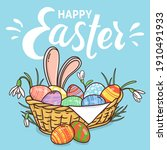 Basket With Easter Eggs. Wicker ...