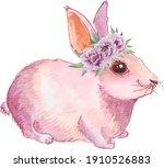 watercolor pink cute bunny....   Shutterstock .eps vector #1910526883