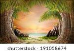 dreamy beach landscape... | Shutterstock . vector #191058674