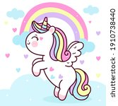 cute unicorn pegasus vector fly ... | Shutterstock .eps vector #1910738440