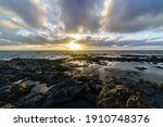 Sunset On The Sea Coast With...