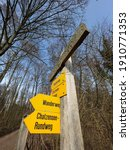 Yellow Signboards For Hiking...
