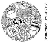 hand drawn circle design with... | Shutterstock . vector #1910819119