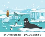 north pole arctic. white bears  ...   Shutterstock .eps vector #1910835559