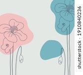 poppy minimal background. hand... | Shutterstock .eps vector #1910840236