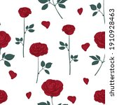 roses and petals seamless... | Shutterstock .eps vector #1910928463