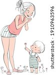 cute boy gives his joyful... | Shutterstock .eps vector #1910963596