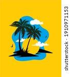 sunset at island. beach trees... | Shutterstock . vector #1910971153