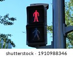 Red Pedestrian Traffic Light On ...