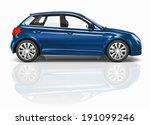 blue 3d hatchback car... | Shutterstock . vector #191099246
