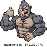 strong evil gorilla with tongue ... | Shutterstock .eps vector #1911017770