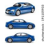 3d image of blue family car | Shutterstock . vector #191105933