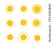 set of sun icons on a white... | Shutterstock .eps vector #1911064846