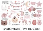 vector hand drawn baby shower... | Shutterstock .eps vector #1911077530