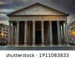 Ancien Pantheon And Cloudy Sky...