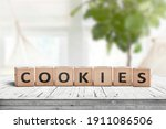 Cookies Word On Wooden Blocks...