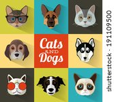 animal portrait set with flat... | Shutterstock .eps vector #191109500